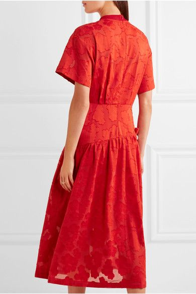Mother of Pearl - Twilla Embellished Burnout Cotton Midi Dress - Red - UK12