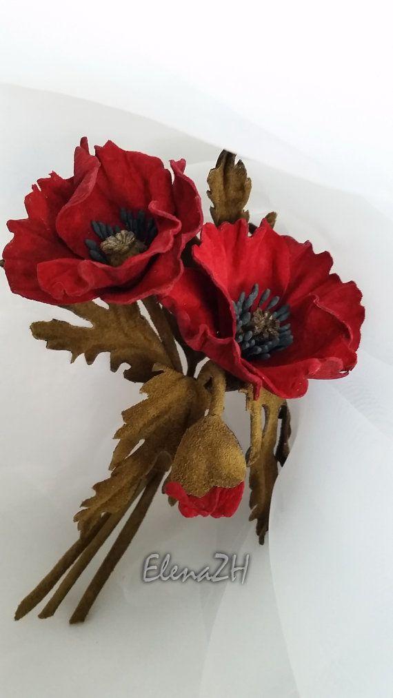 Leather flower brooch - Californias poppies. Floral headpiece, flower headband.