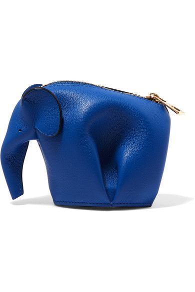 """Loewe, 'Elephant' leather wallet.  """"Loewe's iconic 'Elephant' bag is re-imagined as a wallet - it's meticulously cut, folded and stitched by hand. This royal-blue leather version is finished with polished gold hardware. Use yours to carry keys or coins""""."""