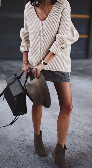 chic street style. rib knit. mini skirt. ankle boots.