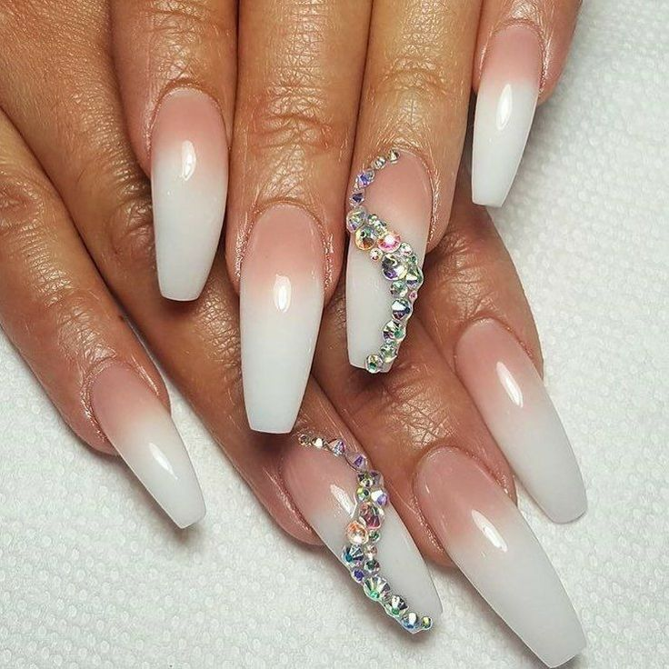 Ombre Nails. Nails With Rhinestones. Acrylic Nails. Long Ballerina Nails.
