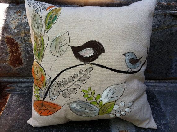 Pillow Cover Fall Thanksgiving Shades of Autumn Bird Hand Painted by SippingIcedTea on Etsy & 80 best Hand Painted Fabrics images on Pinterest | Fabric painting ... pillowsntoast.com