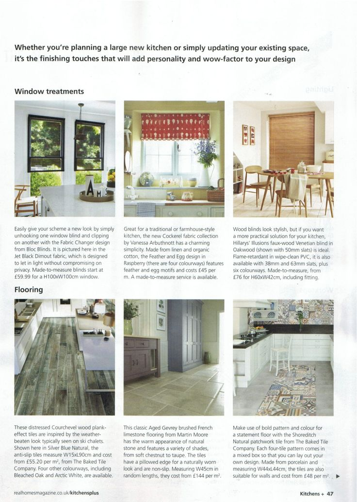 Bloc Blinds featured in the Real Homes supplement, Kitchens Plus #windowtreatments #blinds #kitchens