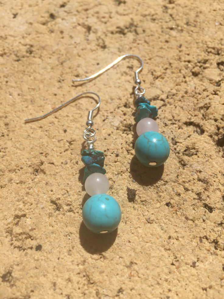 Turquoise and Rose Quartz crystal gemstone healing earrings.  www.divineaura.com.au Or find me on facebook @ www.facebook.com/divineaura123 ******SOLD OUT*******