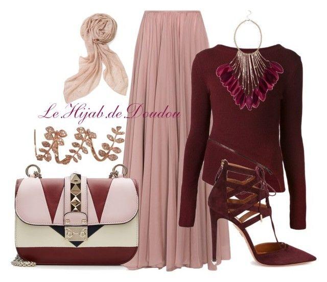 """Hijab Outfit"" by le-hijab-de-doudou ❤ liked on Polyvore featuring Lara Khoury, Belstaff, Valentino, Stella & Dot, Aquazzura and Plukka"