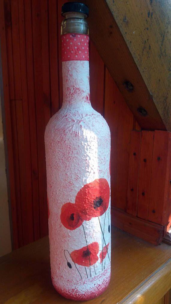 Poppy decor decoupage juice or alcoholic bottle