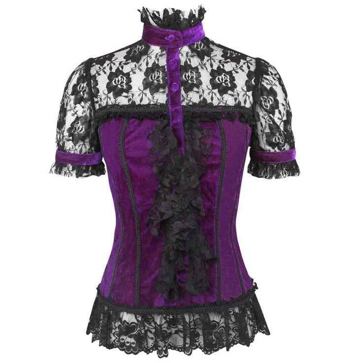 VG London Fluwelen top met hoge hals en kant paars/zwart - Gothic Vict
