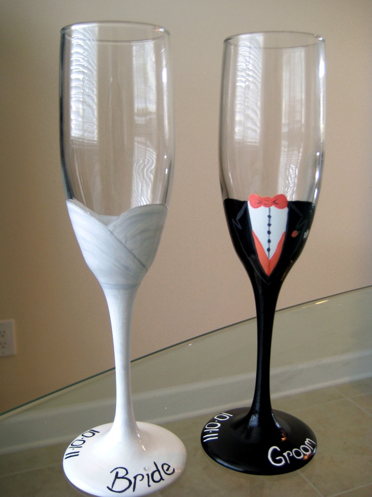 Novia y novio Glasses por Mano Pintado Cristalería de Laura