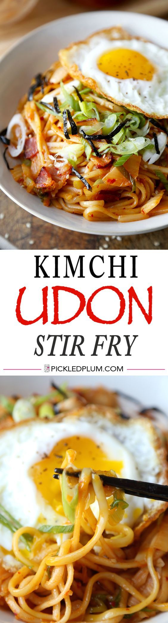 Kimchi Udon Stir Fry - Sizzling bacon and chewy udon noodles tossed in a tangy and spicy kimchi sauce - ready in 15 minutes! Recipe, noodles, spicy, easy, Korean | pickleplum.com