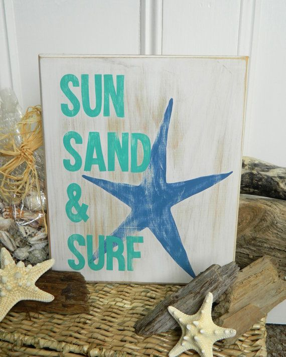 SUN SAND & SURF Starfish Hand Painted Beach-Inspired Wood Sign