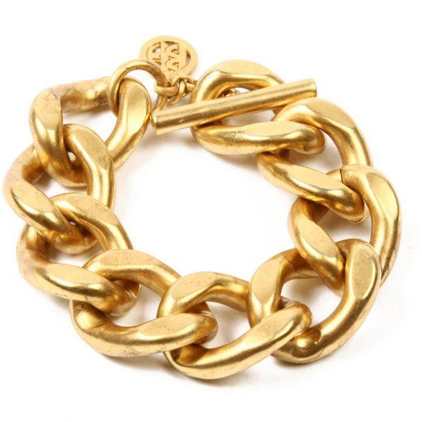 Matte gold link bracelet ($249) ❤ liked on Polyvore featuring jewelry, bracelets, 24-karat gold jewelry, matte gold jewelry, 24k jewelry and 24 karat gold jewelry