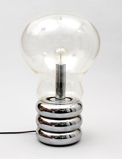 Lamp Large Clear Bulb clear glass spherical lamp on chromed metal base design Ingo Maurer 1966 executed by Design M / Germany