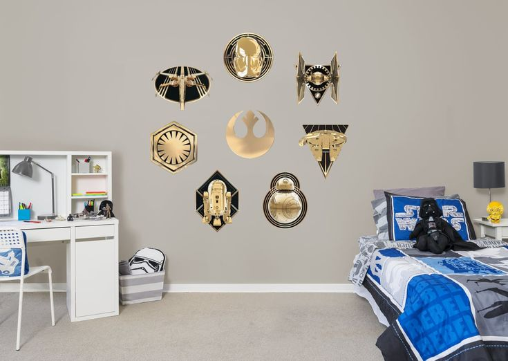 Star wars bedroom star wars the last jedi gold grandeur collection wall decal