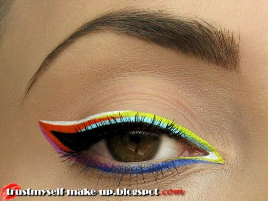 Playing with colours: Rainbows Liners, Limes Crime, Make Up, Fun Eyeliner, Makeup Geek, Rainbows Color, Colour Eyeliner, Plays With Hairs Colour, Makeup Idea