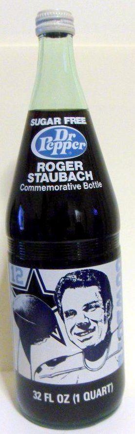 Dr pepper Roger Staubach Cowboys Commemorative bottle Front