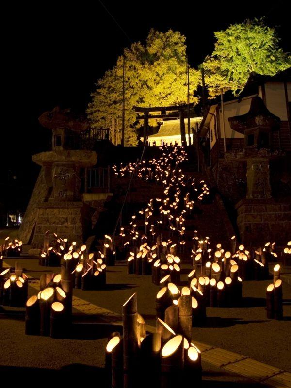 『西の宮神社』竹田町 大分県「たけた竹灯籠 竹楽」Chikuraku: Taketa, Oita, Japon