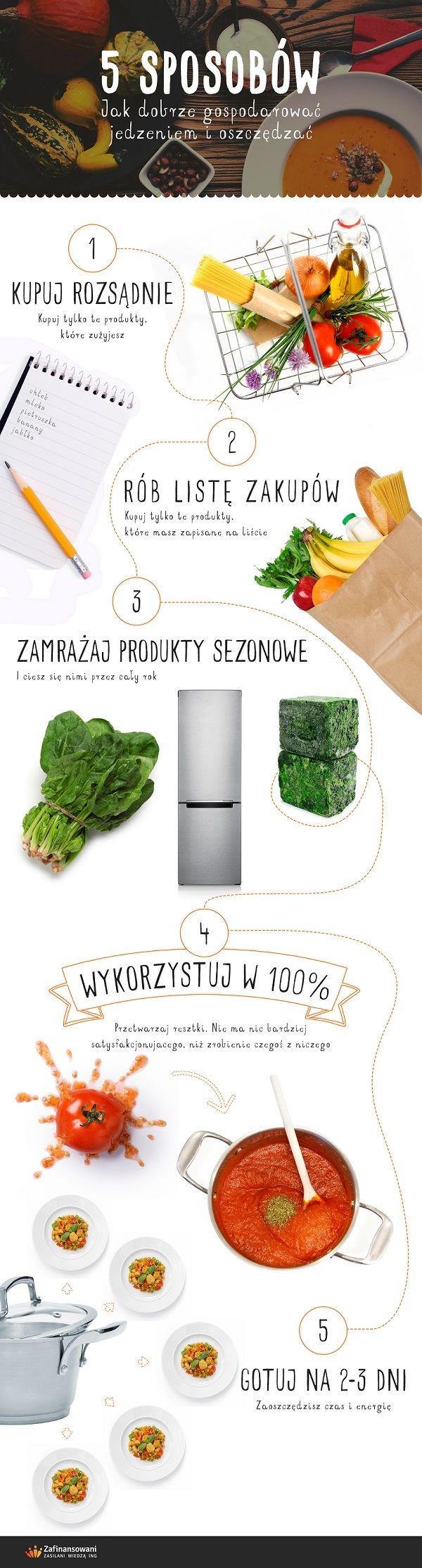 5 sposobów jak gospodarować jedzeniem - infografika ; rób listę zakupów; zamrażaj produkty sezonowe; przetwarzaj resztki; gotuj na kilka dni