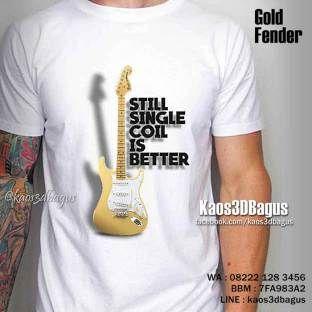 Kaos 3D GITAR Fender Stratocaster - Gold Fender - Kaos Alat Musik