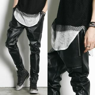 Drawstring-Waist Faux-Leather Pants