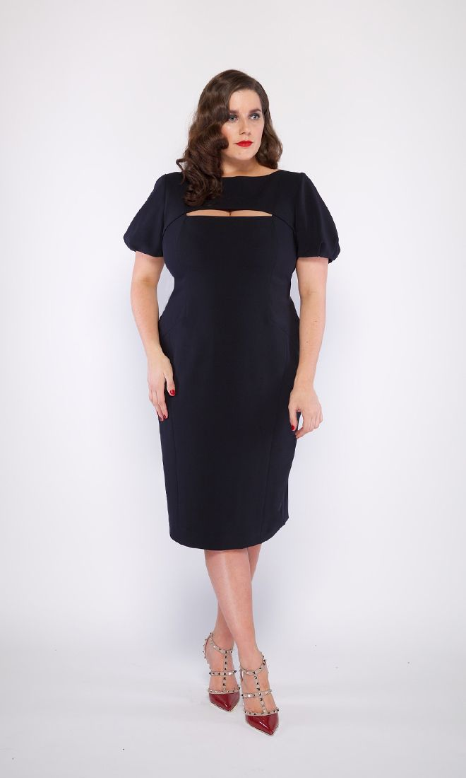 The VICTORIA Peek a boo dress. A cocktail dress with a front peek a boo feature and V back, back zip and fully lined. Stretch fabric.