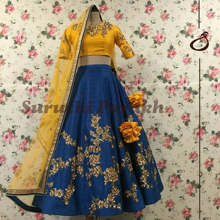 One of our favoutite designs in mesmerising combination of mustard and teal blue. A treat to the eyes and a true head turner. Beautiful blue color designer lehenga and mustard color designer cro top with hand embroidery work on yoke and sleeves. 01 November 2017