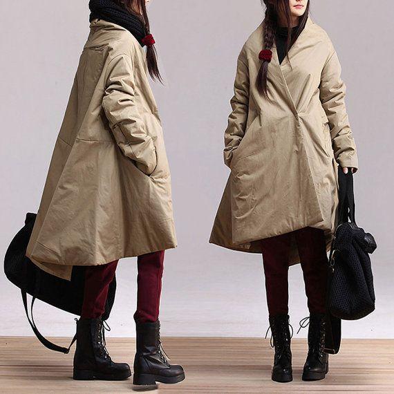 5colors khaki  black navy blue  plus size cotton casual maxi blouse long-sleeved cotton coat  oversize Coat  autumn spring winter  AOLO-606