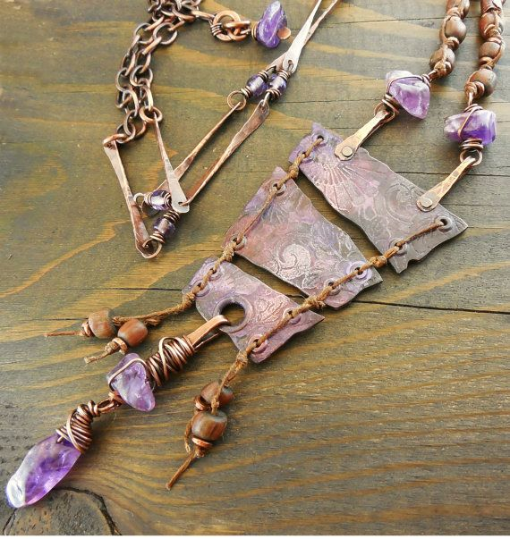 Ancient Pottery Shard Etched Metalwork Amethyst by lunedesigns, $120.00