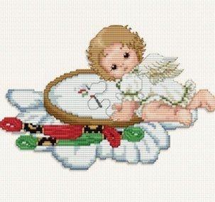 Ellen Maurer-Stroh, Stitching Angel Hoop - Cross Stitch Chart