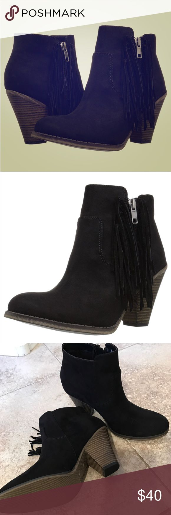 "Mia Black Fringe Lindsie Bootie NWOT - black suede bootie. Western-inspired side fringe detail completes a soft textured bootie lifted on a wooden heel. M=standard width. Round toe. Faux suede with genuine suede fringe detail. Side zip closure. Stacked print chunky heel. Approx. 3.5"" shaft height, 9"" opening circumference. Approx. 3.5"" heel. Textile and suede upper, manmade sole.. Color: black MIA Shoes Ankle Boots & Booties"