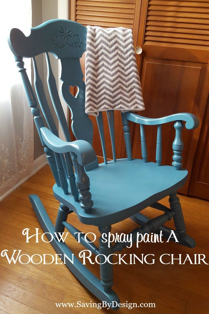 Add a pop of color to your nursery, bedroom, or any room!  See how to spray paint a wooden rocking chair...it's super easy and inexpensive! | Saving by Design