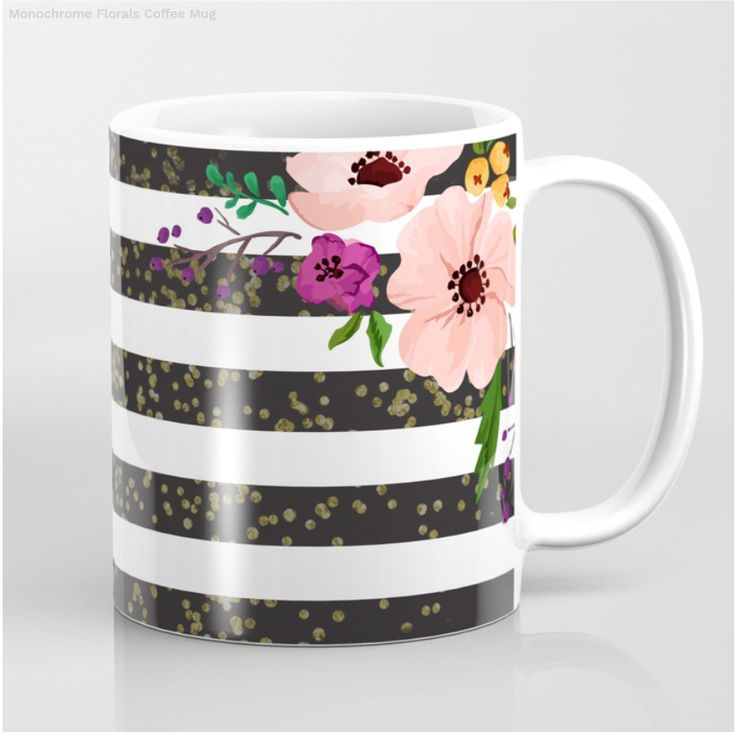 Monochrome Lines with Florals Coffee Mug on Society6