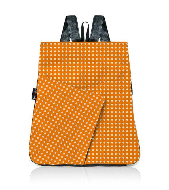 Vegan ORANGE BACKPACK purse Polka dots spots by estelladesign, $94.00