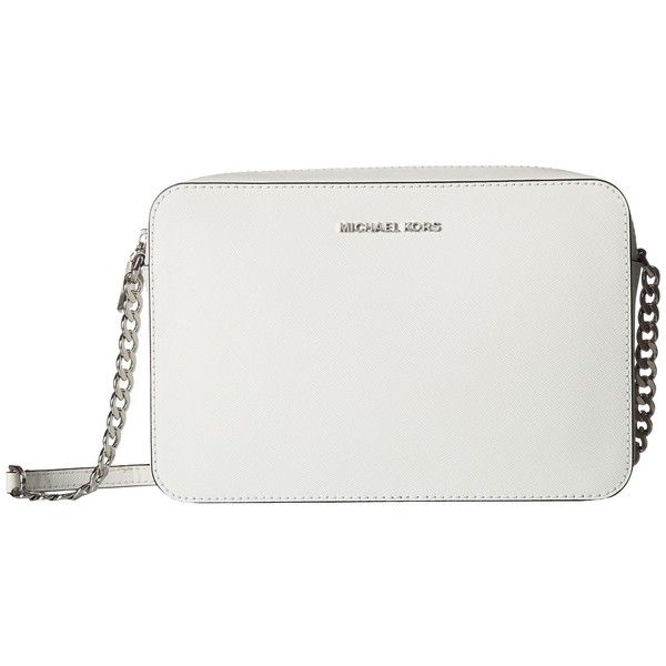 343570c7d410 MICHAEL Michael Kors Large East West Crossbody (Optic White) Cross...  (1.160 NOK) ❤ liked on Polyvore featuring bags