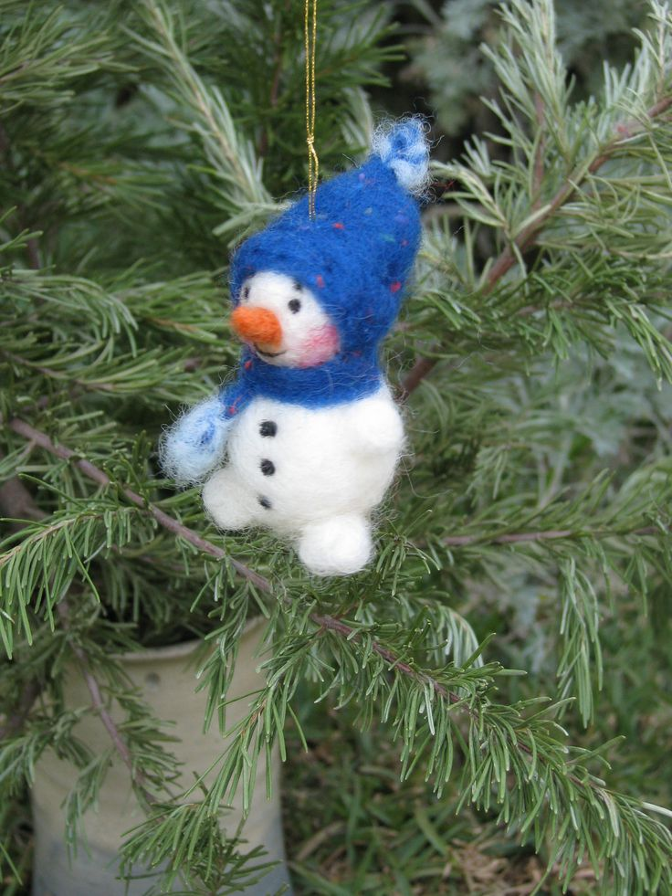 Christmas snowman ornament, needle felted