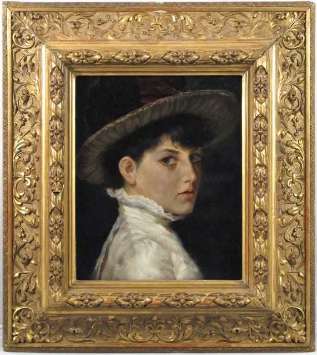 "c.1900 oil on academy board portrait titled ""Rosamund"""