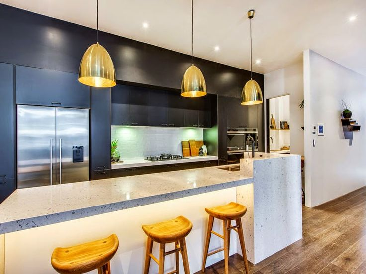 black, stone, white and brass kitchen inspiration - Michael and Carlene's Block Apartment