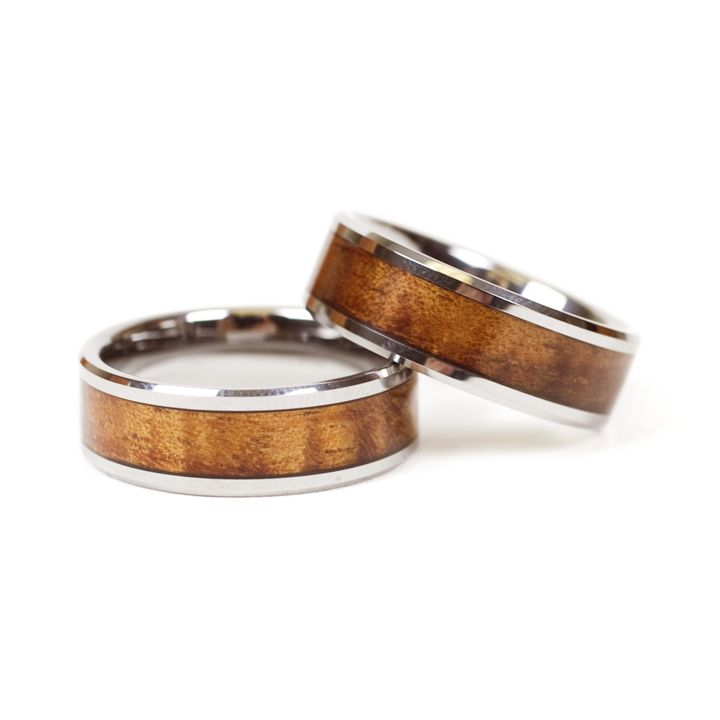 Koa & Tungsten Eternity Band (For Men) From Hawaii   Perfect ring for the hardworking man!!