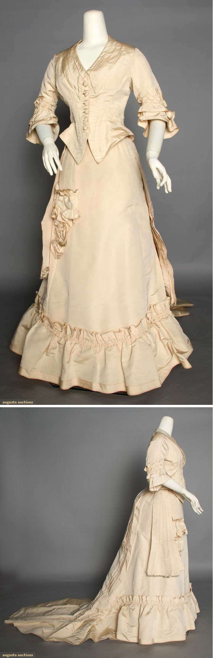 CREAM SILK WEDDING DRESS, 1875