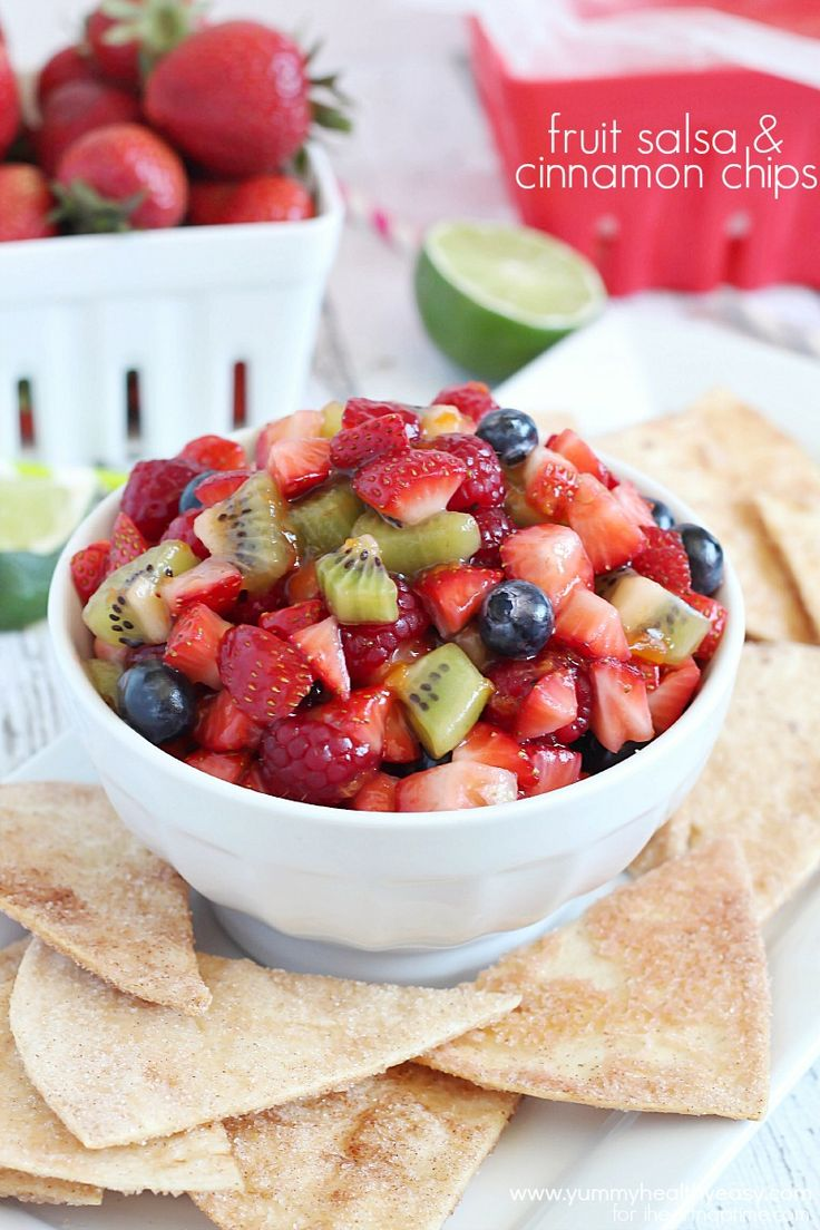 Easy fruit salsa and homemade cinnamon chips recipe ...perfect for summer!