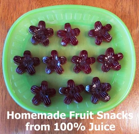 Jell-o Fruit Snacks Recipe  1 3 oz package gelatin, any flavor  2 .25 oz envelopes unflavored gelatin  1/3 c. water     Sprinkle the gelatin over the water in a small saucepan.  Heat over medium heat and stir until gelatin is completely dissolved.  Pour into molds and allow to set at least 20 minutes.