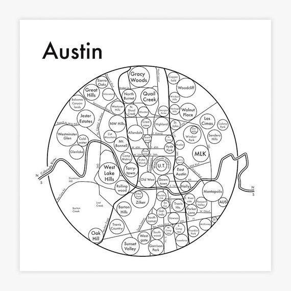 Austin Map 8 X 8 Letterpress Beautiful Minimalist Etsy Austin Map Simple Graphic Letterpress