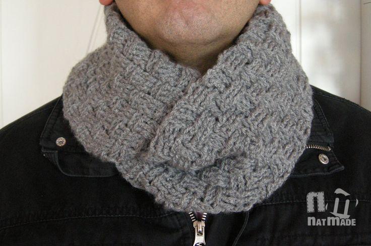 Crochet Infinity Scarf - Knit Infinity Scarf - Grey scarf - Unisex scarf by NatmadeCrafts on Etsy