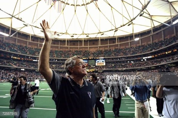 Dan Reeves  http://media.gettyimages.com/photos/nov-1998-head-coach-dan-reeves-of-the-atlanta-falcons-waves-to-fans-picture-id72557515?s=594x594