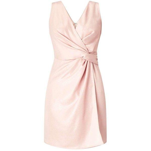 Miss Selfridge PETITE Shimmer Wrap Dress ($50) ❤ liked on Polyvore featuring dresses, petite, powder blush, petite dresses, sexy night out dresses, night out dresses, petite wrap dress and pink wrap dress