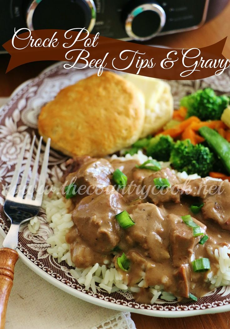 Crock Pot Beef Tips and Gravy | www.thecountrycook.net