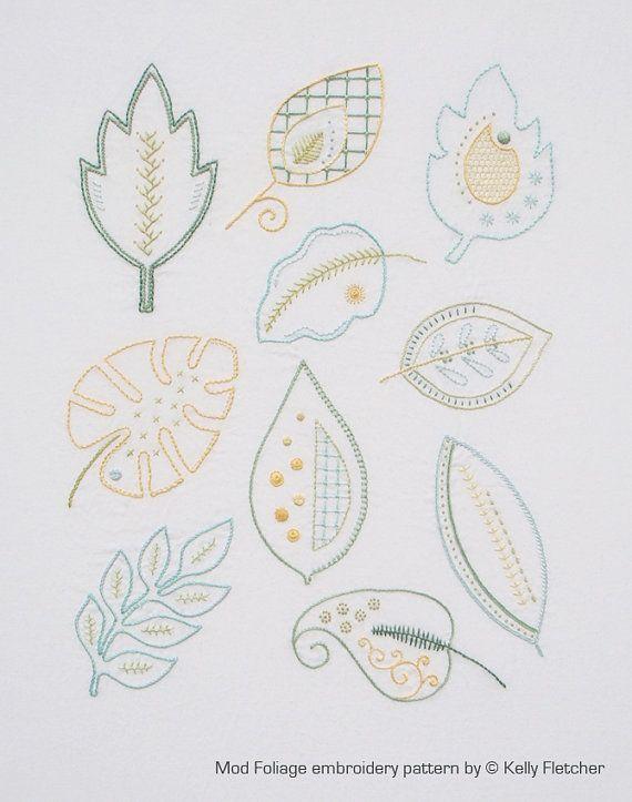 Mod Foliage modern hand embroidery pattern - modern embroidery PDF pattern, digital download