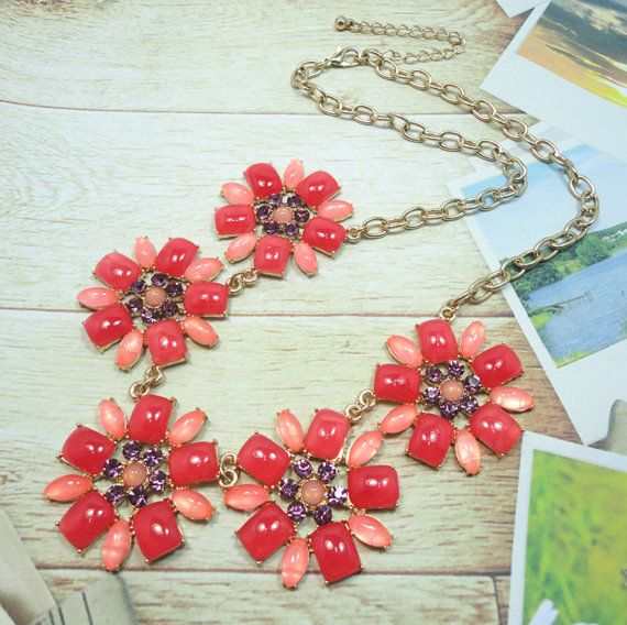 Stone mix coral flower necklace, bib necklace, statement necklace, choker necklace, cabochon necklace, bubble necklace, gold chain necklace on Etsy, $12.99