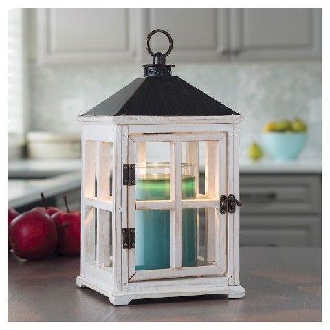 Candle Warmers Etc.™ Wooden Lantern Candle Warmer in White.