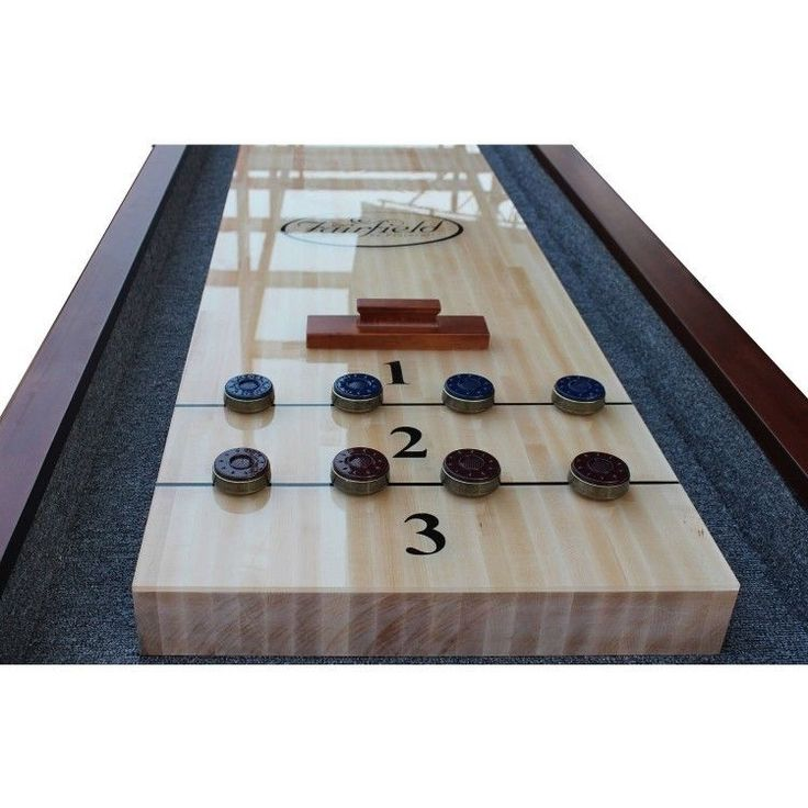 Shuffleboard Table 12ft Brown Chestnut Finish W Accessories And Elegant  Accents