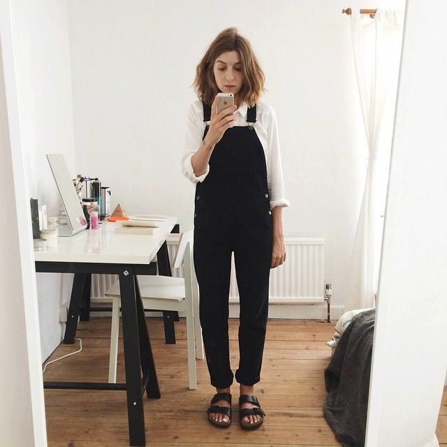 i like the black overalls. would look cute dressed up with the right accessories!